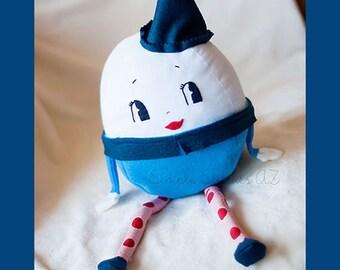"CUSTOM 8.5"" Stuffed Humpty Dumpty - Stuffed Egg - Stuffed Toy - Softie - Toy - Fairy Tale Character - Jill Hamor - Humpty Dumpty"