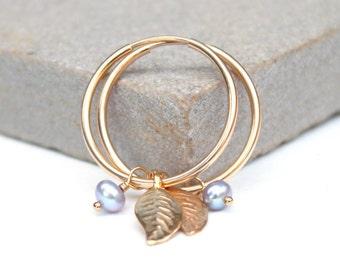 Gold Leaf and pearl hoops, thin gold hoop earrings, June Birthstone, dainty earrings, charm earrings, delicate earrings, gift for her,