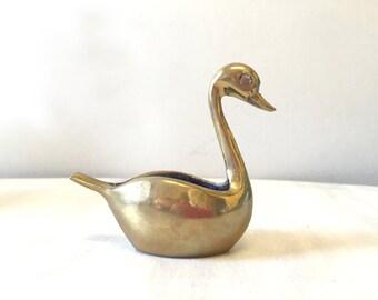 Vintage brass swan trinket pot, brass bird, brass swan figurine, vintage swan, brass swan planter, swan decor, brass figurine, brass statue