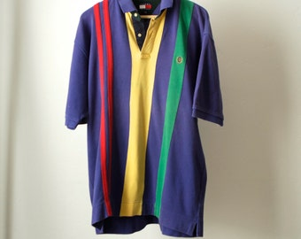 Tommy Hilfiger 90s POLO normcore blue striped cotton button up