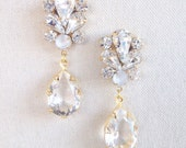 FARRAH- Swarovski Bridal Earrings- Crystal Drop Earrings- Bridal Earrings- Crystal Earrings- Chandelier Bridal Earrings