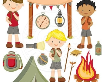 Boy Camp Trip Cute Digital Clipart, Camping Clip Art, Tent, Backpack, Fire pit, Campers, Nature Graphics, Hiking Clipart