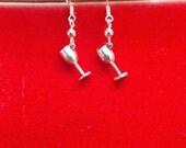 Silver Wine Glass Earrings, Silver Wine Glass Sterling Silver Earrings, Wine Earrings, Silver Wine Glass Sterling Earrings