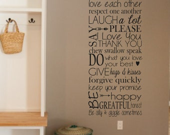 Vinyl Wall Decal-In This House- Love- Family- Manners-Vinyl Wall Quotes- Family Decor- Living Room Decor- Kitchen Decor- Family Room