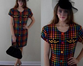 Vintage Dress, Short Dress, Plaid Dress, 1980s, 1980s Billie Dress, Casual Dress, Career Wear, Day Dress, Vintage Dresses