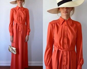 Vintage Maxi Dress, 1960s Maxi Dress, Coral Maxi Dress, Long Sleeved Maxi Dress, Maxi Dress
