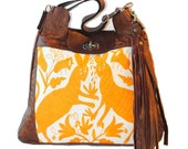 Large Otomi Mexican Embroidered Leather and Fabric Shoulder Tote Bag Ready to Ship