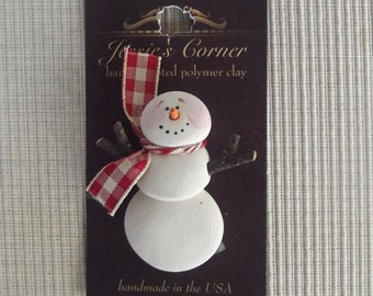 hand sculpted polymer clay stick arm snowman pin with scarf