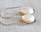 Pearl Drop Earrings, Freshwater Pearl Earrings, Silver Dangle Earrings, Sterling Silver Jewelry, Artisan Jewelry, High Quality