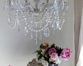 Shabby chic Italian vintage brass crystal chandelier, repurposed ivory with faux pearls