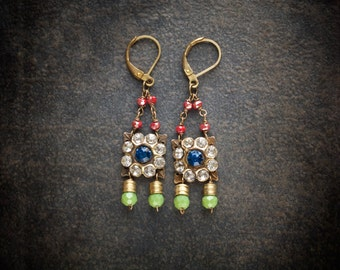 Vintage Sapphire Rhinestone Flower Assemblage Earrings with Ruby and Green Faceted Crystals