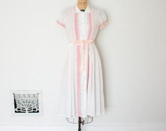 Vintage 50s Dress - 1950s Seersucker Dress - The Ella
