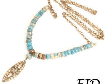 Stamped Bronze, Jasper and Antiqued Brass Necklace