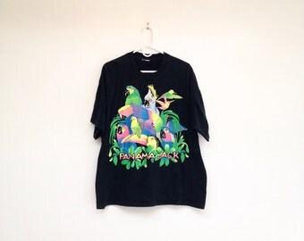 Rad Vintage 1980s Panama Jack Glittery Neon Parrots T-Shirt