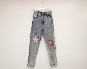 Vintage 1980s High Waisted Acid Washed Aces and Jokers Stretch Jeans