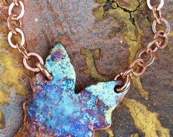 Inspirational copper pendant butterfly necklace