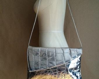 vintage 80's / silver metallic handbag / purse / clutch / new wave / rocker