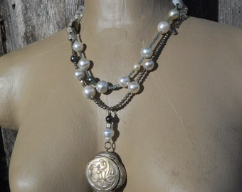 Mistletoe and Oak    Antique Mistletoe Oak Locket Pearl necklace