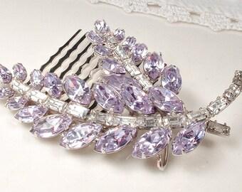 Pale Lavender & Clear Rhinestone Bridal Hair Comb, OOAK Vintage Silver Leaf Lilac Marquise Crystal Hairpiece Pastel Purple Wedding Headpiece