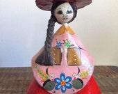 Vintage SerMel Tonala Mexico Small Paper Mache Folk Art Girl Doll
