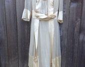 Antique Off White Edwardian Walking Dress – Sheer Silk Early 1900's to 1915 Era