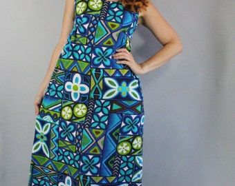 Vintage 60s Women's Royal Blue Green Barkcloth Hawaiian Summer Tiki Party Long Maxi Sleeveless Dress