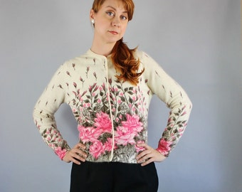 Vintage 50s Pink Floral Print Cardigan by Darlene Winter Pinup Angora Sweater