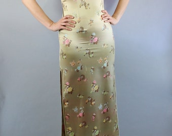 Women's Party Dress, Cheongsam Dress, Gold, Torch Singer,  Gown, Burlesque, Performer, Metallic, Size Small. Free Shipping
