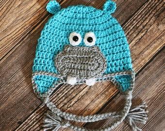 Hippo Hat - Crocheted Hippopotamus Baby Hat - Newborn Photo Prop - Toddler Hippo Hat - Baby Shower Gift - New Baby Gift - Halloween Costume