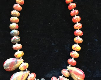 Vintage 80s - Hard  plastic rainbow bead necklace with six tear drops