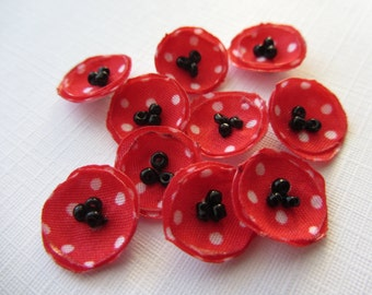 """Small fabric red flowers half inch 0.5"""" red flowers, very small flowers for earrings mini fabric flowers red"""