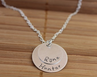 Layered Mom Necklace, Kids Names, Sterling Silver