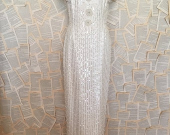 CLEARANCE Vintage beaded great gatsby wedding dress gown sequin rhinestone bridal lace pearl maxi floor full length shortt sleeve