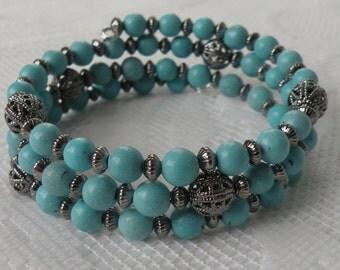 Blue-Green Magnesite Wrap-Around Bracelet with Gunmetal-Plated Brass Beads