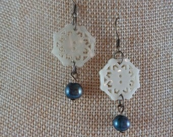 Faux blue pearl and mother-of-pearl dangle earrings