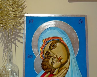 Virgin Mary and Christ child, Eleusa Icon, 16 X 20 inches handpainted orthodox icon, Made to Order