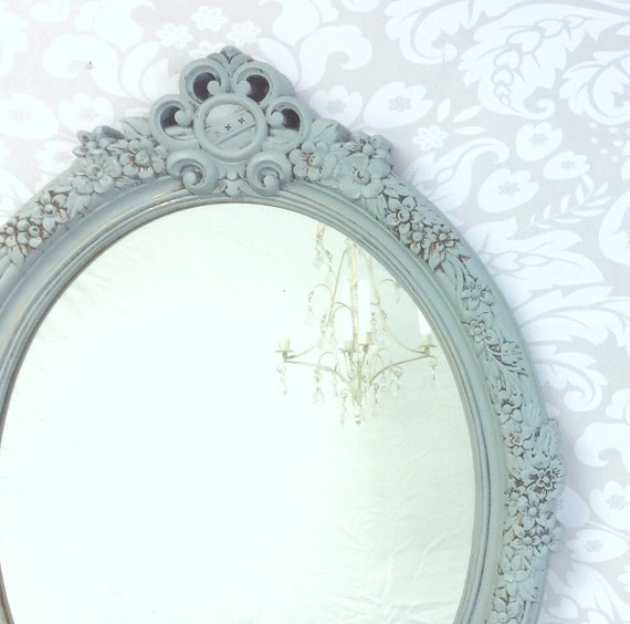"""DECORATIVE VINTAGE MIRRORS For Sale Gray Blue Mirror 28""""x22""""  Shabby Chic Nursery French Country Wall Mirror"""