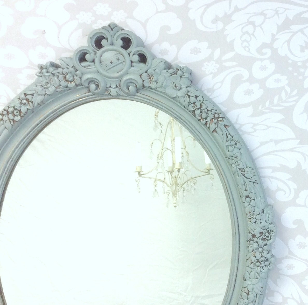 Decorative vintage mirrors for sale gray blue by for Decorative wall mirrors for sale