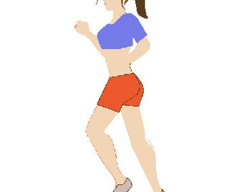 Woman jogger digital embroidery design, Jogger digitized embroidery design