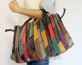 SALE - Ostrich Leather Multi-Color Tote Bag / Handbag / with Samll Pouch