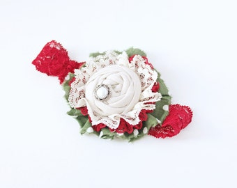 BeClaus of You headband -  red green and ivory vintage linen rosette and ruffle holiday bow