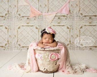 Sparkle in the City- pink and gold maternity sash, bucket wrap sash
