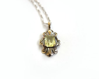 Antique Sterling SIlver Charm Necklace With Synthetic Peridot Stone c.1920s