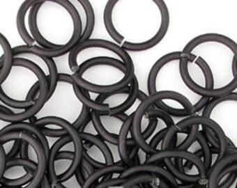 Black Aluminum jump rings, 18G, 4 sizes - #1026/1027/1028/1029/1030