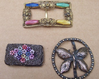 Art Deco belt buckles 3 dress buckle buckle sash buckle antique buckle  (ZAI)