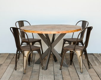 Round Kitchen Table, Pedestal Table In Reclaimed Wood And Steel Legs In  Your Choice Of