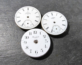 Pocket Watches VINTAGE Porcelain FACE Three (3) Watches Jewels Guts Mechanical Movements Plates Gears Watch Repair Jewelry Supplies (N149)