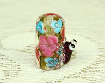 Lampwork focal bead  Frog bead  Glass bead