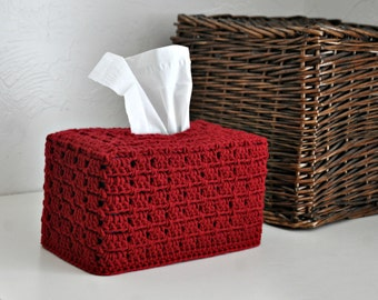 Red Tissue Box Cover Nursery Decoration  Home Decor Granny Chic Kleenex Box Cover