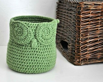 Green Owl Basket Crocheted Bin Yarn Holder Nursery Decor Home Organizer Custom Colors
